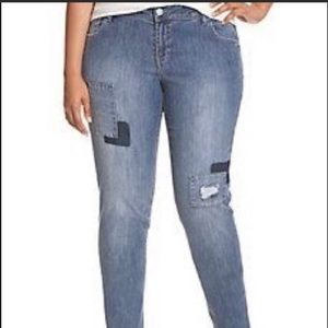 Lane Bryant Ripped Patchwork Jeans